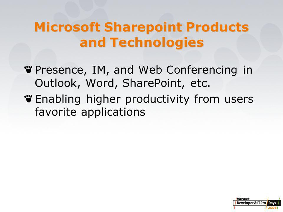 Microsoft Sharepoint Products and Technologies Presence, IM, and Web Conferencing in Outlook, Word, SharePoint, etc.