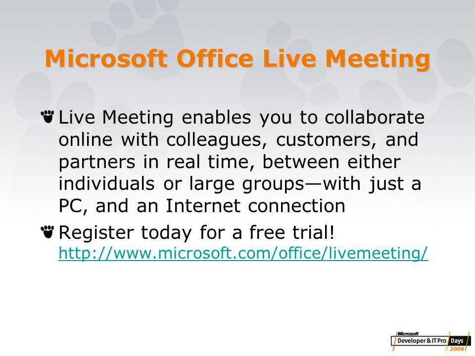 Microsoft Office Live Meeting Live Meeting enables you to collaborate online with colleagues, customers, and partners in real time, between either individuals or large groups—with just a PC, and an Internet connection Register today for a free trial.