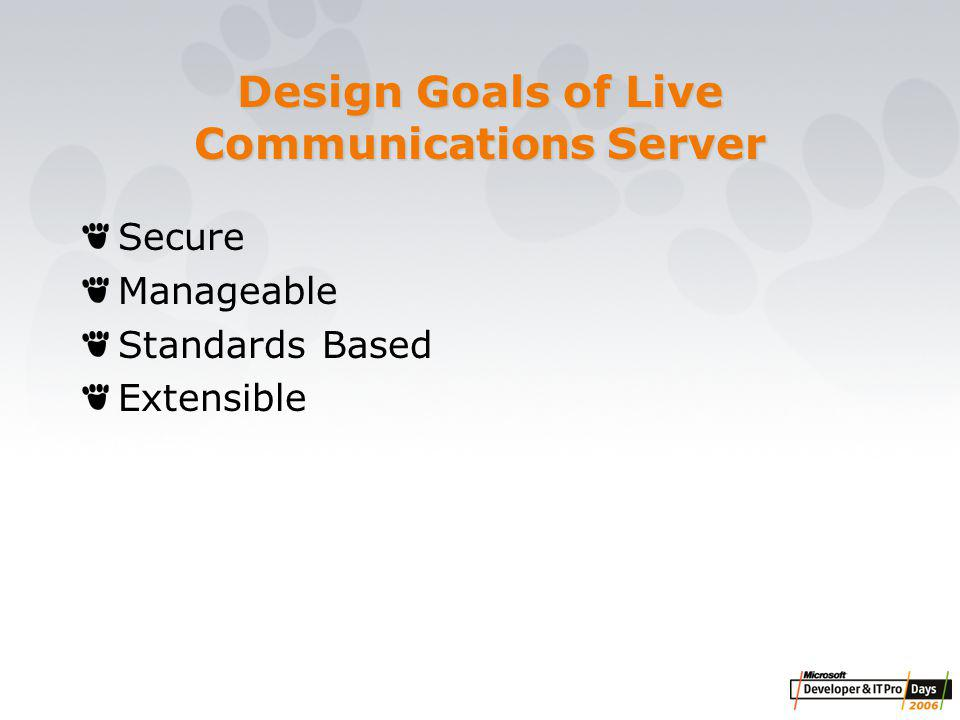 Design principles & capabilities Design Principles Intuitive and in-context user experience Integrated into enterprise infrastructure Enable 'reach' to a wider range of Information workers Ease of deployment and management Core Capabilities Rich IM and presence delivered via a web browser Unique IM features to ensure ease of use in a browser environment Alignment with server scalability goals Broad base of browser clients supported