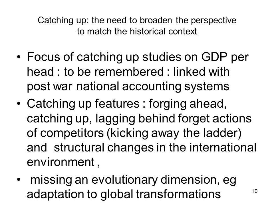 Catching up: the need to broaden the perspective to match the historical context Focus of catching up studies on GDP per head : to be remembered : linked with post war national accounting systems Catching up features : forging ahead, catching up, lagging behind forget actions of competitors (kicking away the ladder) and structural changes in the international environment, missing an evolutionary dimension, eg adaptation to global transformations 10