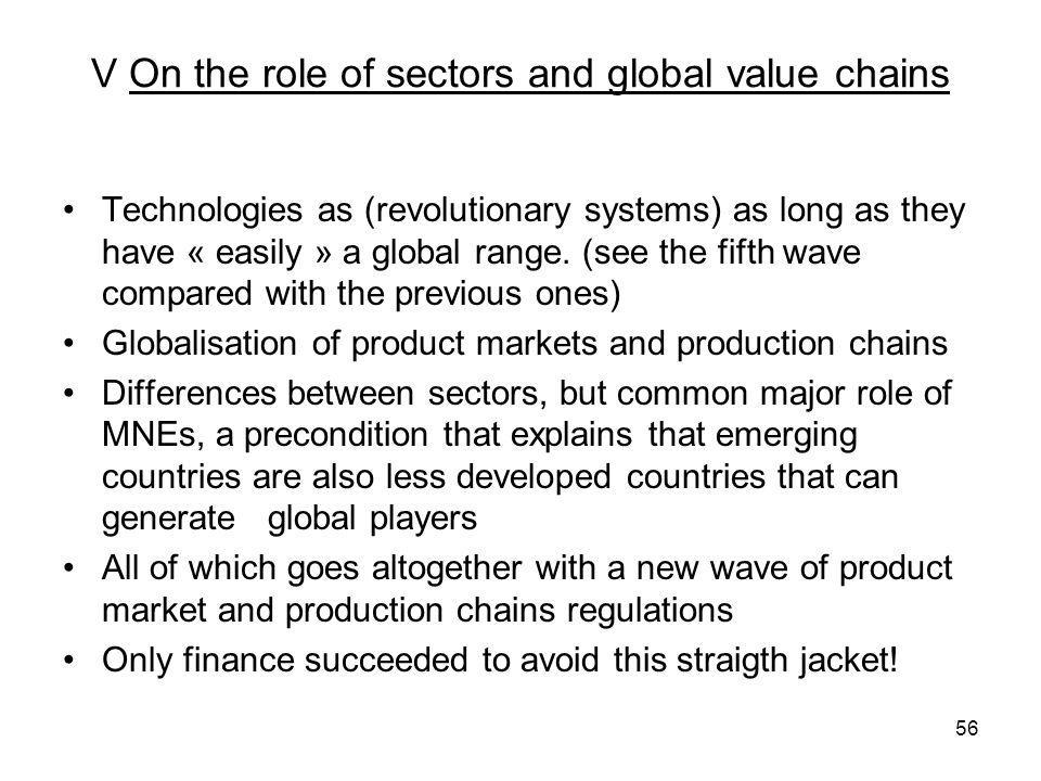 V On the role of sectors and global value chains Technologies as (revolutionary systems) as long as they have « easily » a global range.