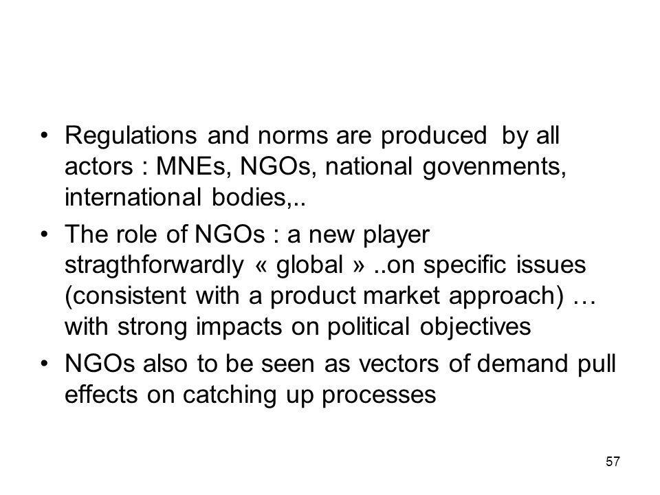 Regulations and norms are produced by all actors : MNEs, NGOs, national govenments, international bodies,..