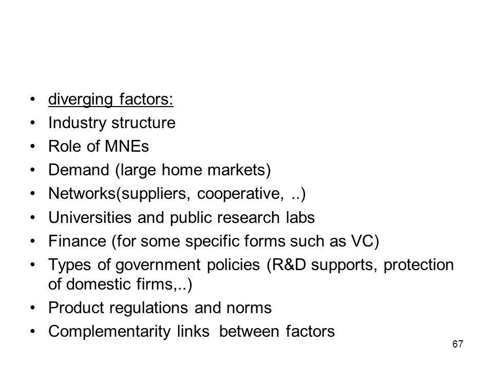 diverging factors: Industry structure Role of MNEs Demand (large home markets) Networks(suppliers, cooperative,..) Universities and public research labs Finance (for some specific forms such as VC) Types of government policies (R&D supports, protection of domestic firms,..) Product regulations and norms Complementarity links between factors 67