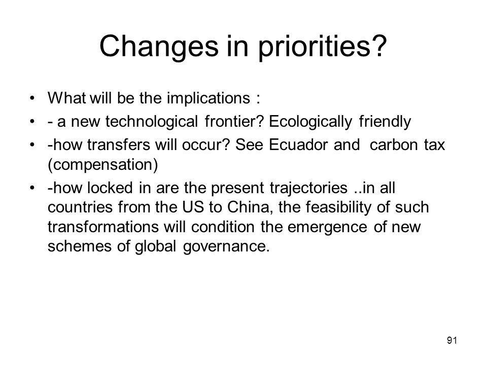 Changes in priorities. What will be the implications : - a new technological frontier.