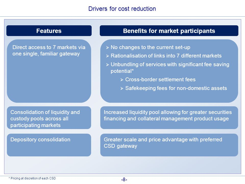 Drivers for cost reduction FeaturesBenefits for market participants Direct access to 7 markets via one single, familiar gateway  No changes to the current set-up  Rationalisation of links into 7 different markets  Unbundling of services with significant fee saving potential*  Cross-border settlement fees  Safekeeping fees for non-domestic assets Consolidation of liquidity and custody pools across all participating markets Increased liquidity pool allowing for greater securities financing and collateral management product usage Depository consolidationGreater scale and price advantage with preferred CSD gateway * Pricing at discretion of each CSD -8-