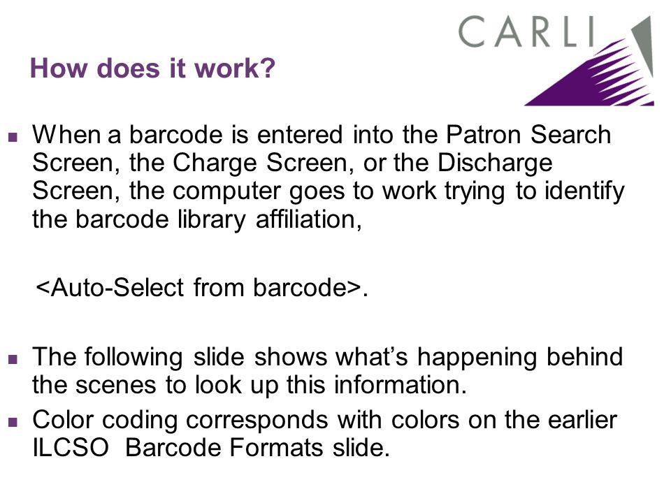 How does it work? When a barcode is entered into the Patron Search Screen, the Charge Screen, or the Discharge Screen, the computer goes to work tryin