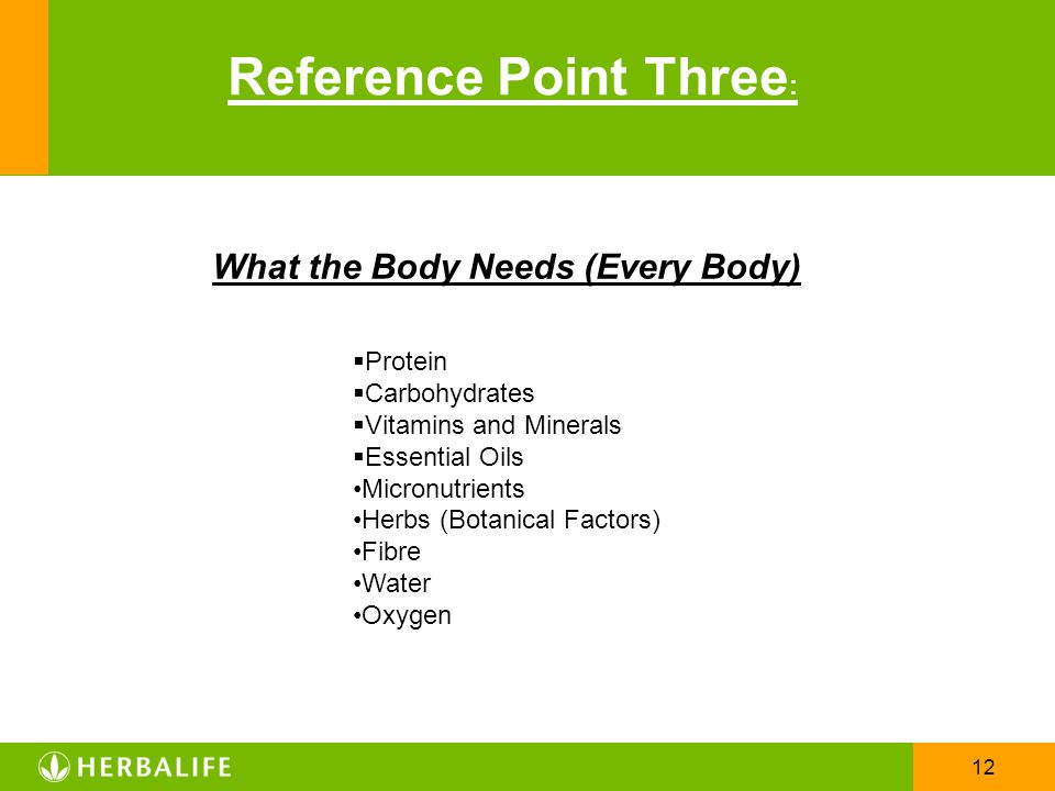 12 Reference Point Three : What the Body Needs (Every Body)  Protein  Carbohydrates  Vitamins and Minerals  Essential Oils Micronutrients Herbs (B