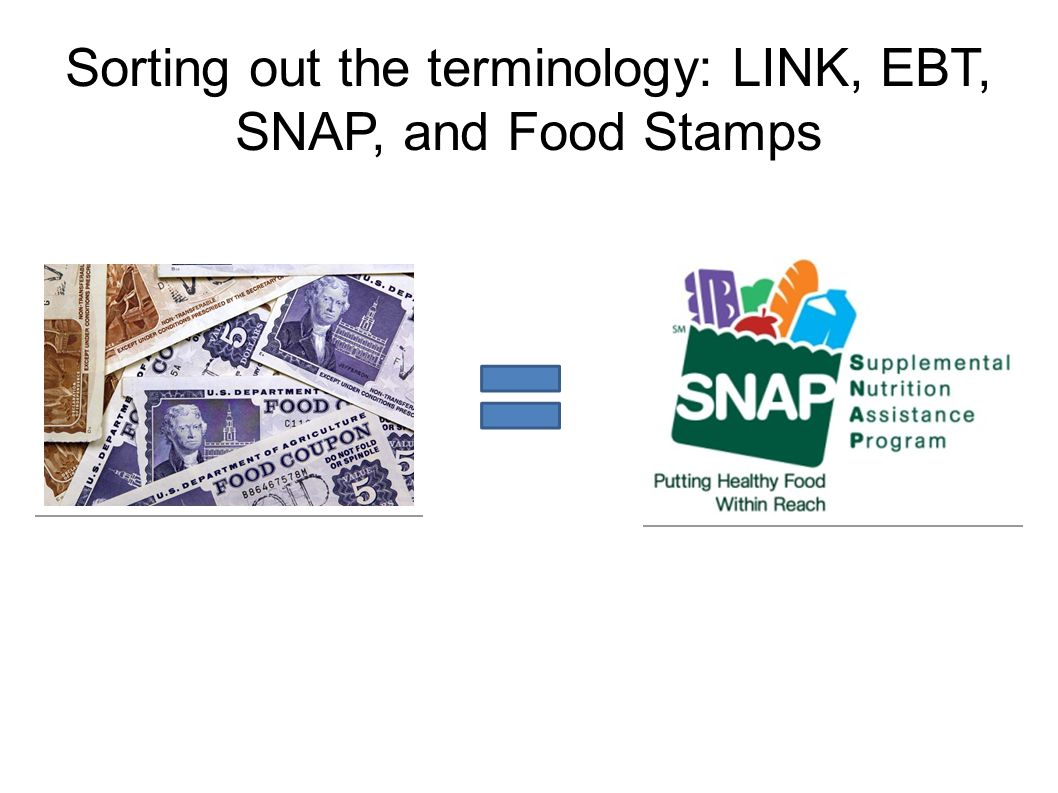 Sorting out the terminology: LINK, EBT, SNAP, and Food Stamps