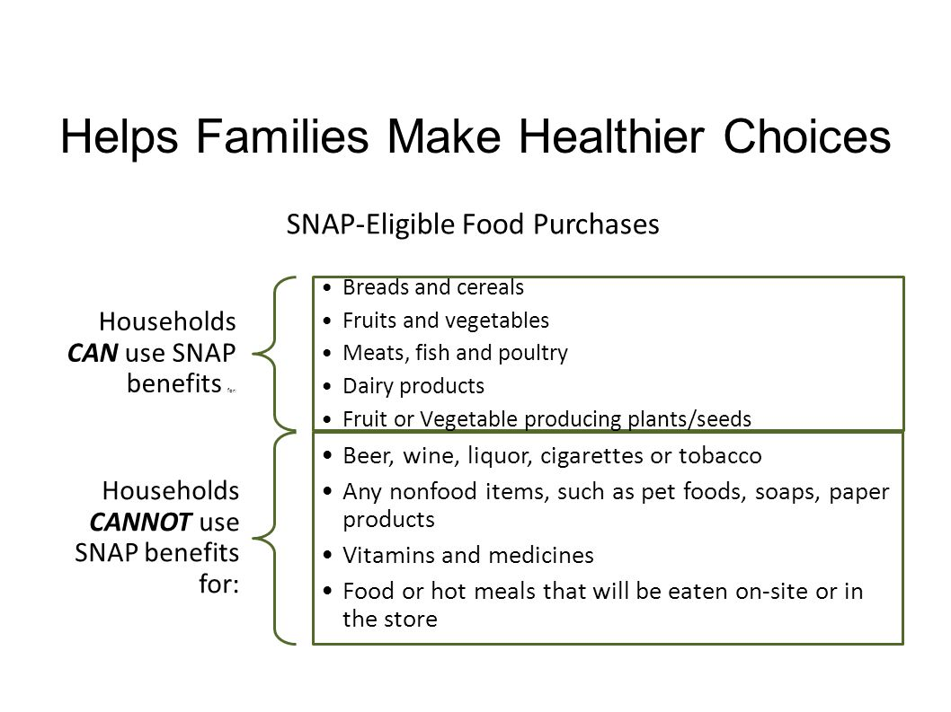 Helps Families Make Healthier Choices Households CAN use SNAP benefits for: Breads and cereals Fruits and vegetables Meats, fish and poultry Dairy pro