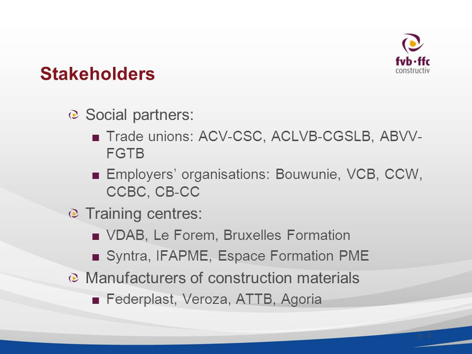 Stakeholders EE and RES organisations: ■PHP, VEI, CeDuBo p. 5