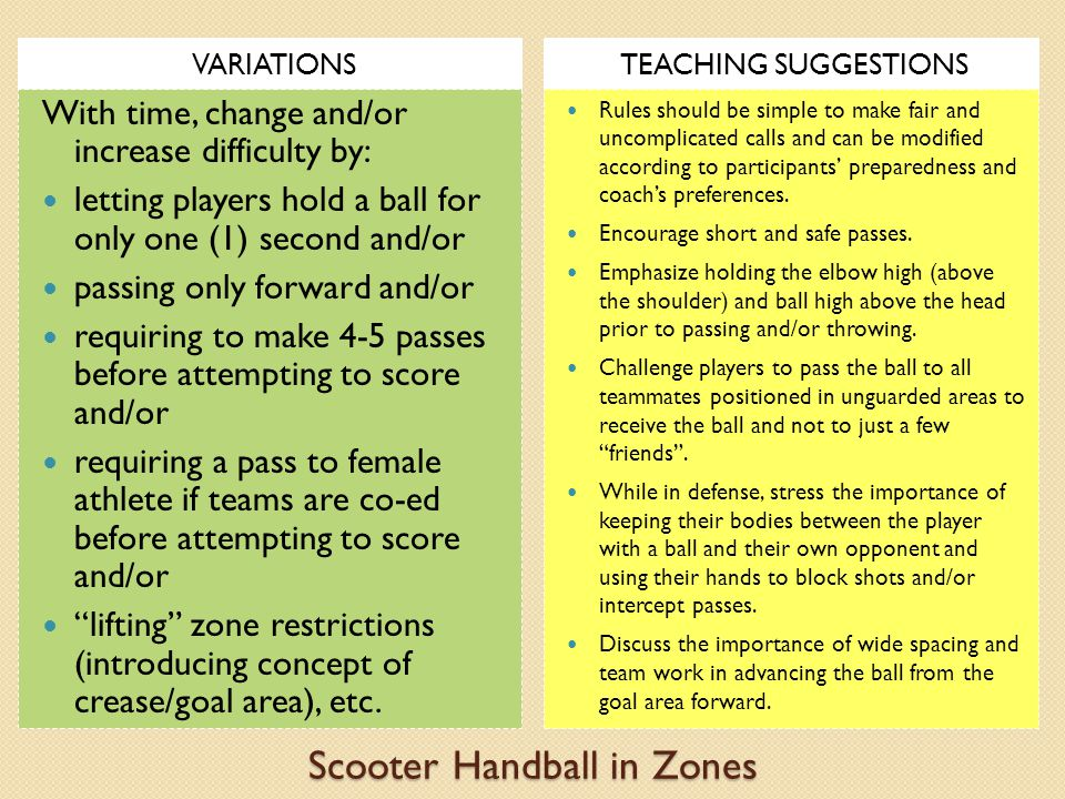 Scooter Handball in Zones VARIATIONSTEACHING SUGGESTIONS With time, change and/or increase difficulty by: letting players hold a ball for only one (1) second and/or passing only forward and/or requiring to make 4-5 passes before attempting to score and/or requiring a pass to female athlete if teams are co-ed before attempting to score and/or lifting zone restrictions (introducing concept of crease/goal area), etc.
