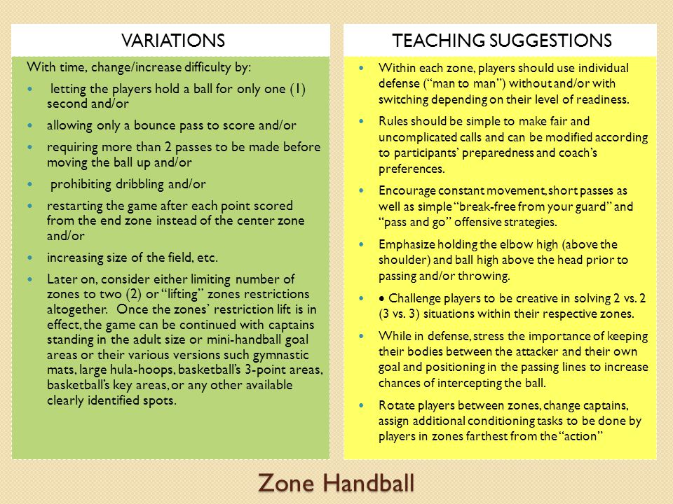 Zone Handball VARIATIONSTEACHING SUGGESTIONS With time, change/increase difficulty by: letting the players hold a ball for only one (1) second and/or allowing only a bounce pass to score and/or requiring more than 2 passes to be made before moving the ball up and/or prohibiting dribbling and/or restarting the game after each point scored from the end zone instead of the center zone and/or increasing size of the field, etc.