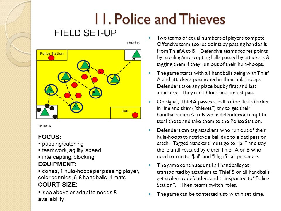 11.Police and Thieves Two teams of equal numbers of players compete.