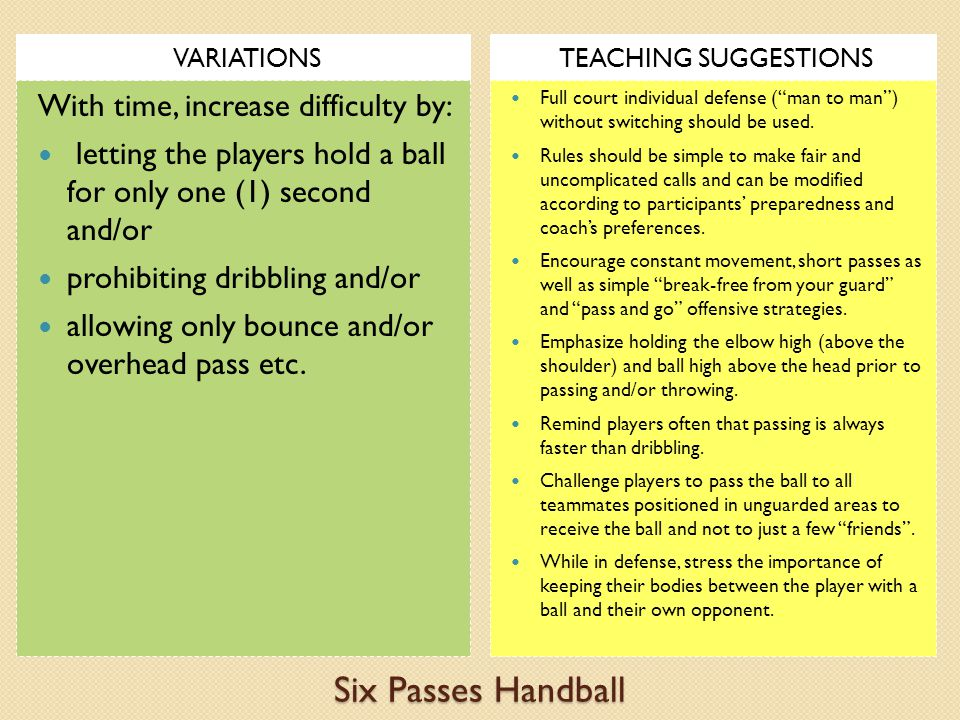 Six Passes Handball VARIATIONSTEACHING SUGGESTIONS With time, increase difficulty by: letting the players hold a ball for only one (1) second and/or prohibiting dribbling and/or allowing only bounce and/or overhead pass etc.