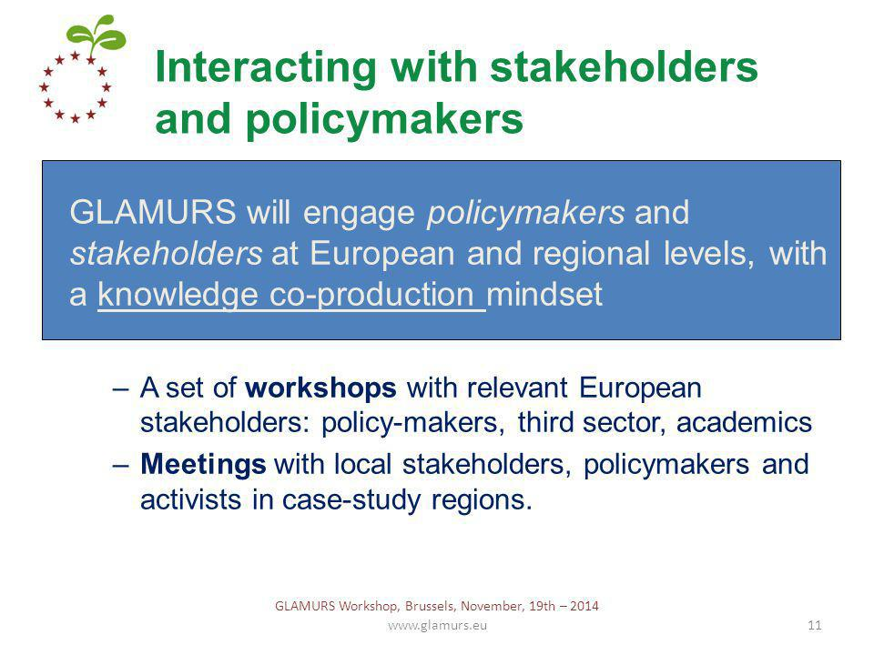 Interacting with stakeholders and policymakers www.glamurs.eu11 GLAMURS will engage policymakers and stakeholders at European and regional levels, with a knowledge co-production mindset –A set of workshops with relevant European stakeholders: policy-makers, third sector, academics –Meetings with local stakeholders, policymakers and activists in case-study regions.