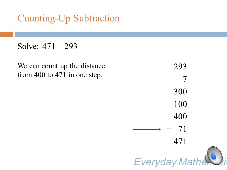 Solve: 471 – 293 We can count up the distance from 400 to 471 in one step.