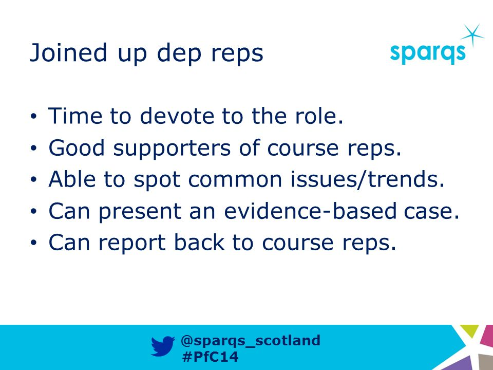 @sparqs_scotland #PfC14 Joined up dep reps Time to devote to the role.