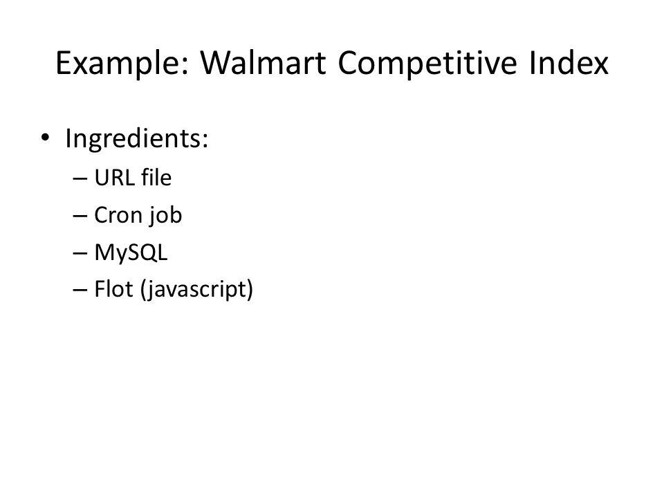 Example: Walmart Competitive Index Ingredients: – URL file – Cron job – MySQL – Flot (javascript)