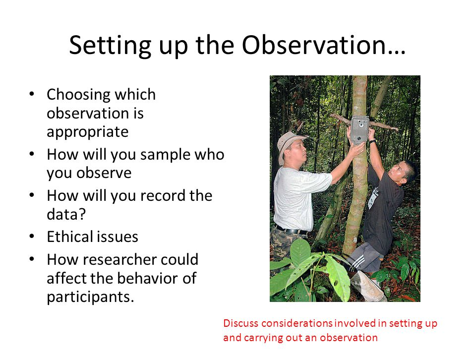 While carrying out the observation… Establishing a rapport with the participants Establishing a rapport with the participants Ethics again Maintaining objectivity Actually recording the data Carrying out post- observation interviews to clarify the observations.
