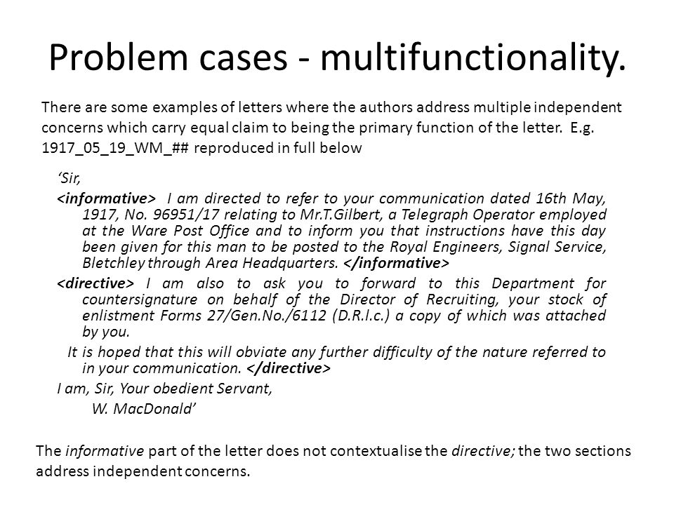 Problem cases - multifunctionality.