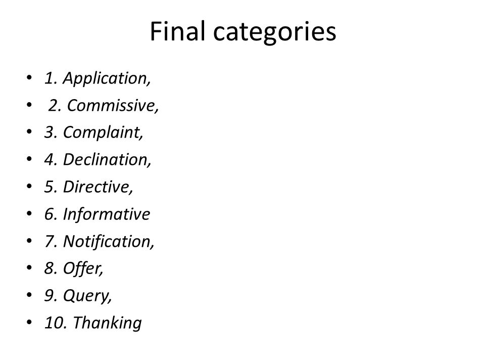 Final categories 1. Application, 2. Commissive, 3.