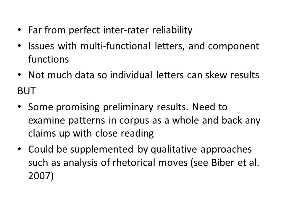 Far from perfect inter-rater reliability Issues with multi-functional letters, and component functions Not much data so individual letters can skew results BUT Some promising preliminary results.