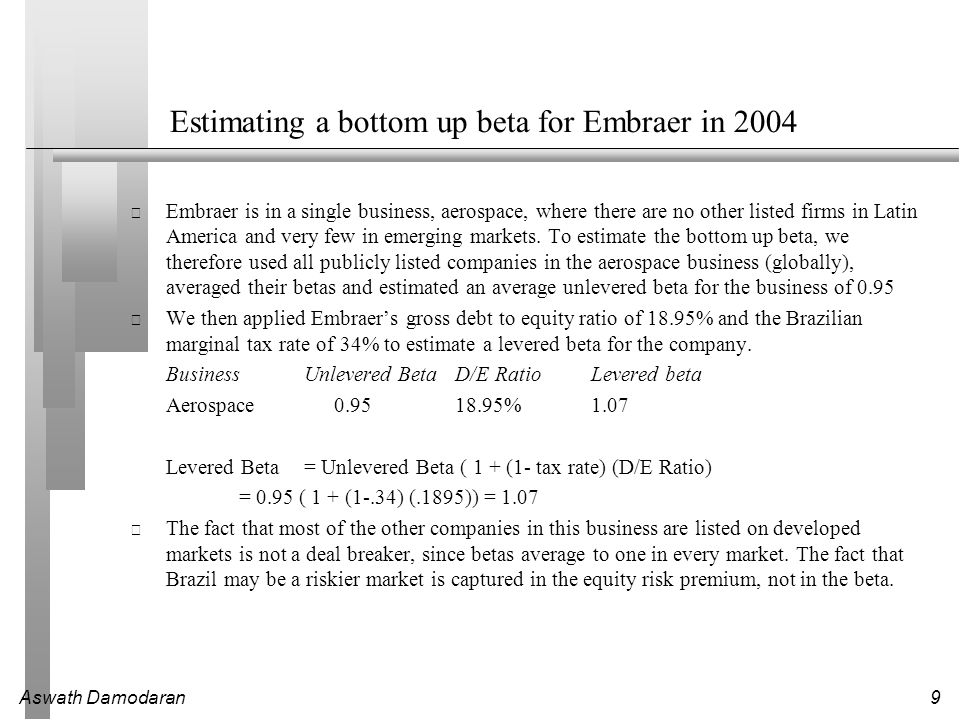 Aswath Damodaran9 Estimating a bottom up beta for Embraer in 2004 Embraer is in a single business, aerospace, where there are no other listed firms in Latin America and very few in emerging markets.