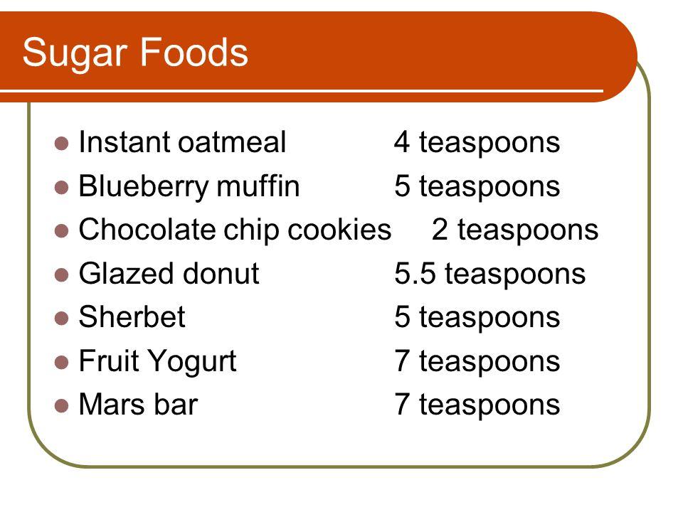 Sugar Foods Instant oatmeal4 teaspoons Blueberry muffin5 teaspoons Chocolate chip cookies 2 teaspoons Glazed donut5.5 teaspoons Sherbet5 teaspoons Fruit Yogurt7 teaspoons Mars bar7 teaspoons