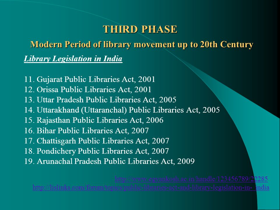 THIRD PHASE Modern Period of library movement up to 20th Century Library Legislation in India 11.