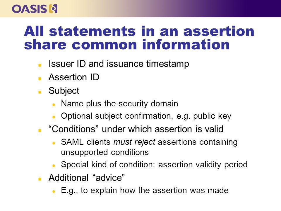 Authentication Statement n Indicates Issuer Authenticated Subject details how and when n Contains: l AuthN time (Req) l Session index (Opt) l Session end (Opt) l AuthN Location (Opt) n IP Address or DNS Name l AuthN Context (Req) n Details of AuthN Method
