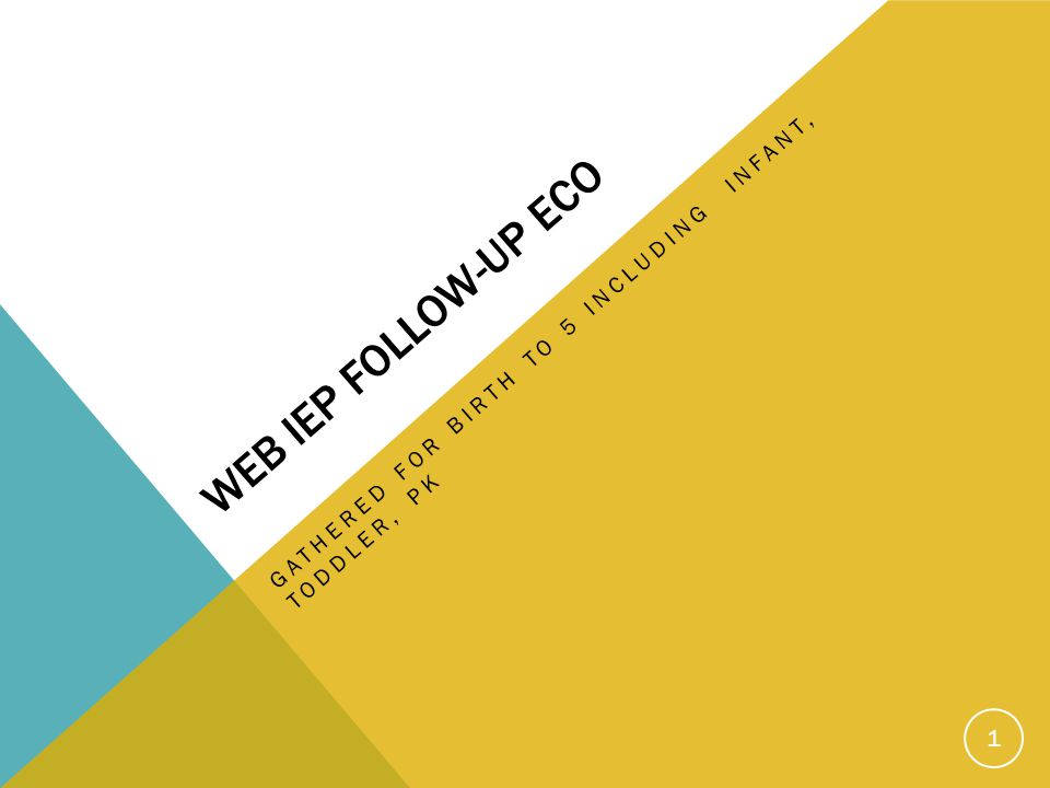 WEB IEP FOLLOW-UP ECO GATHERED FOR BIRTH TO 5 INCLUDING INFANT, TODDLER, PK 1