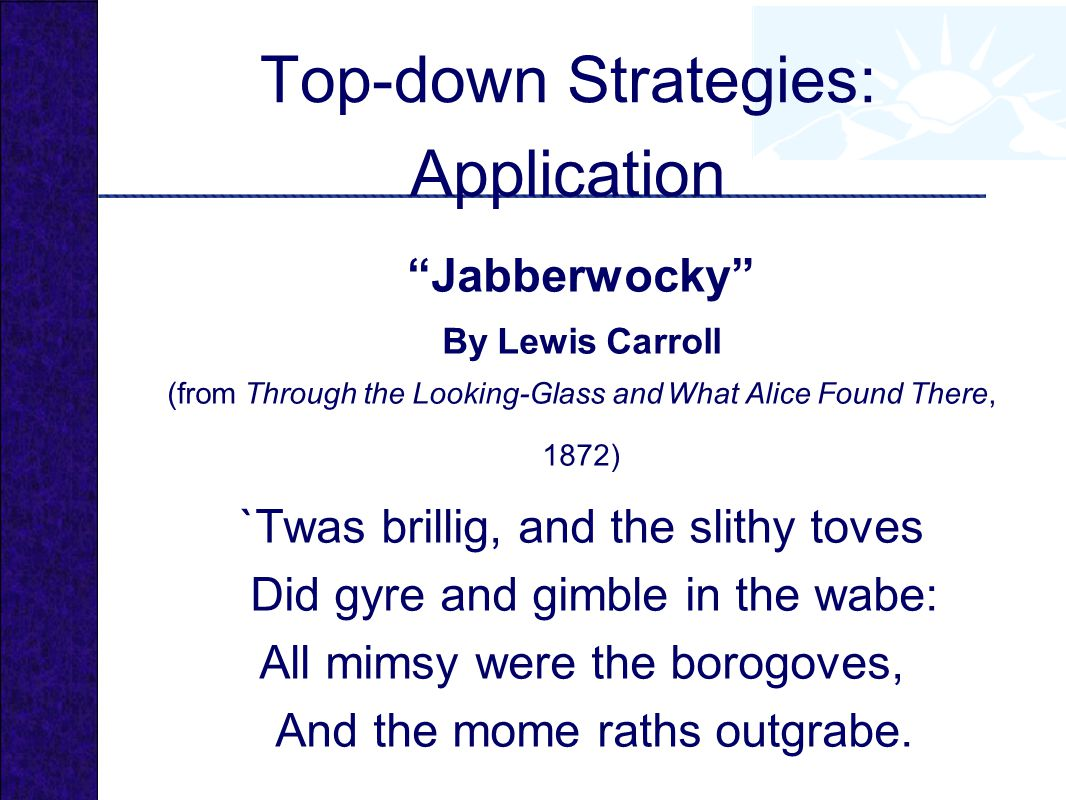 Jabberwocky By Lewis Carroll (from Through the Looking-Glass and What Alice Found There, 1872) `Twas brillig, and the slithy toves Did gyre and gimble in the wabe: All mimsy were the borogoves, And the mome raths outgrabe.