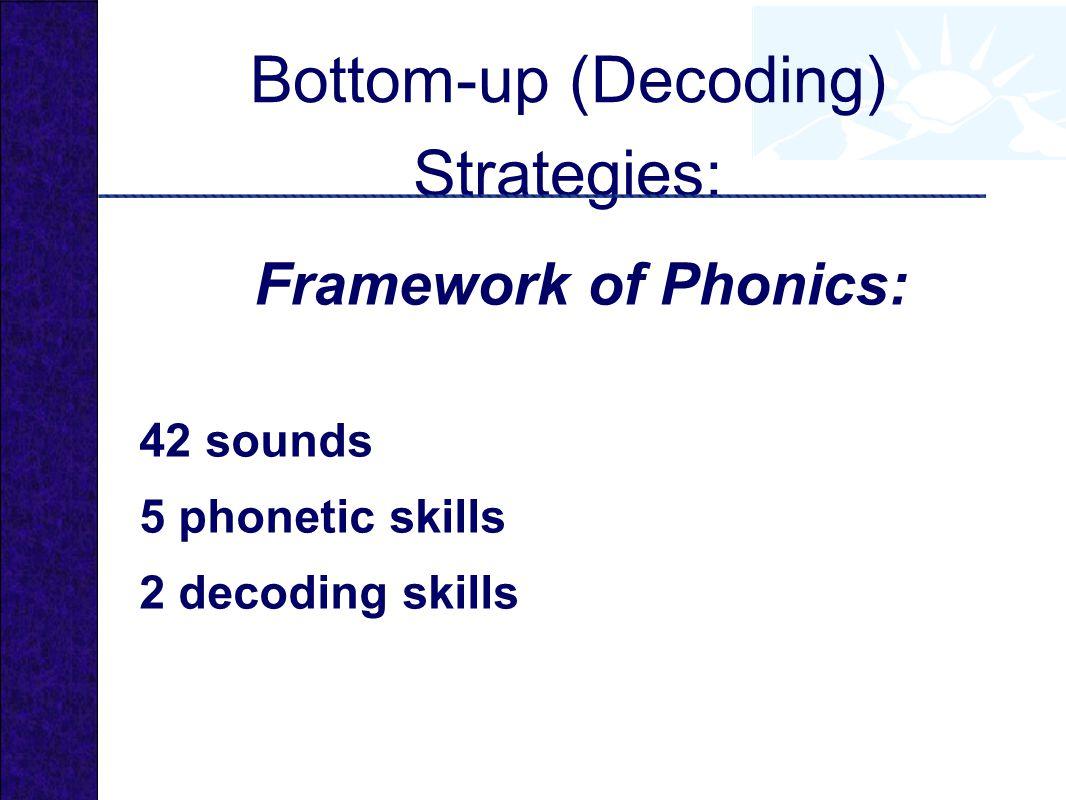Bottom-up (Decoding) Strategies: Framework of Phonics: 42 sounds 5 phonetic skills 2 decoding skills