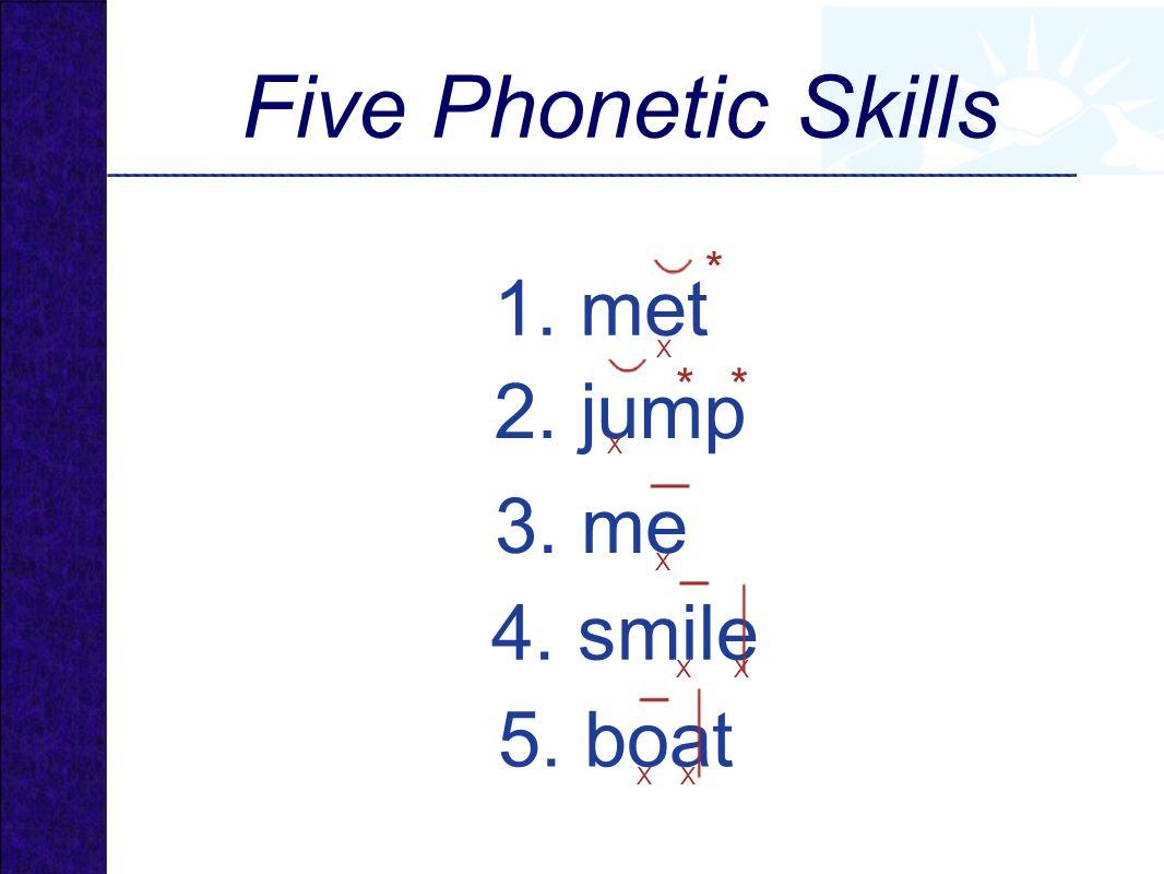 1. met 2. jump 4. smile 5. boat 3. me X * X ** XX XX X Five Phonetic Skills