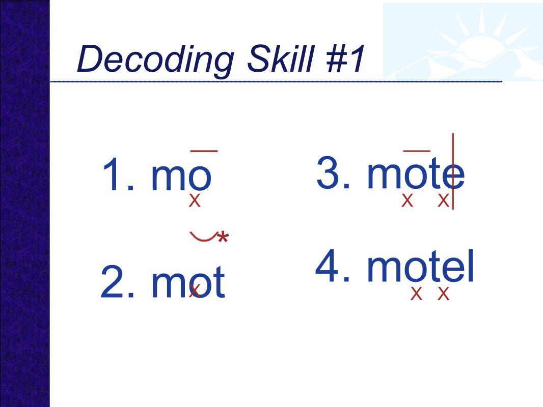 1. mo X 3. mote XX 4. motel XX 2. mot X * Decoding Skill #1