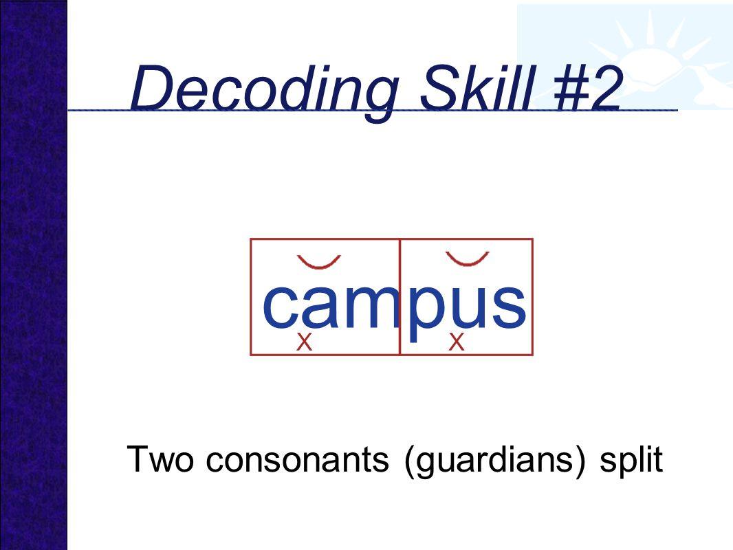 Decoding Skill #2 campus XX Two consonants (guardians) split