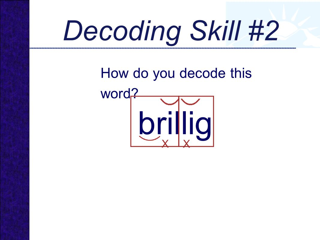 brillig How do you decode this word? Decoding Skill #2 X X
