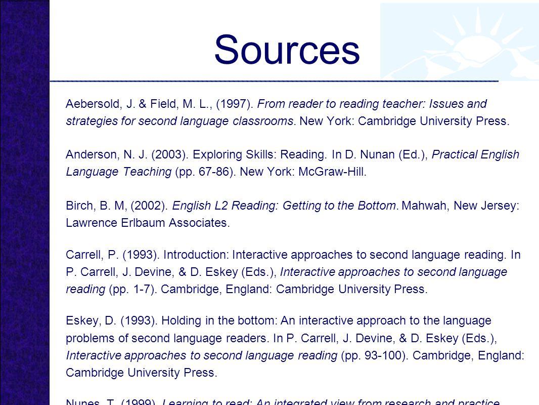Sources Aebersold, J.& Field, M. L., (1997).