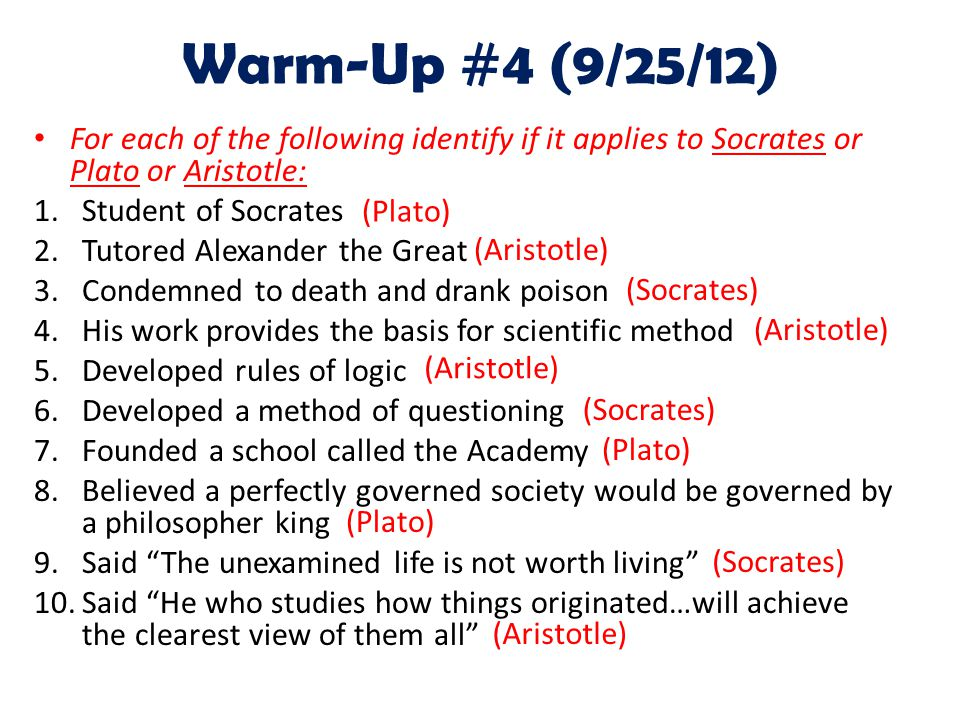 Warm-Up #4 (9/25/12) For each of the following identify if it applies to Socrates or Plato or Aristotle: 1.Student of Socrates 2.Tutored Alexander the Great 3.Condemned to death and drank poison 4.His work provides the basis for scientific method 5.Developed rules of logic 6.Developed a method of questioning 7.Founded a school called the Academy 8.Believed a perfectly governed society would be governed by a philosopher king 9.Said The unexamined life is not worth living 10.Said He who studies how things originated…will achieve the clearest view of them all (Plato) (Aristotle) (Socrates) (Aristotle) (Socrates) (Aristotle)