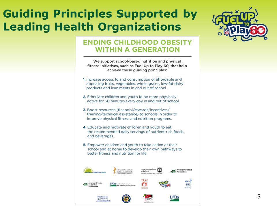5 Guiding Principles Supported by Leading Health Organizations