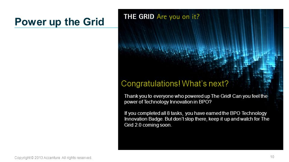 Copyright © 2013 Accenture All rights reserved. 10 Thank you to everyone who powered up The Grid.