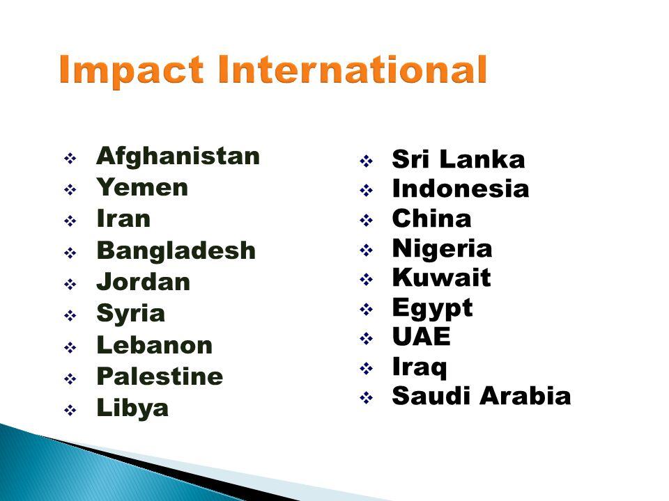  Afghanistan  Yemen  Iran  Bangladesh  Jordan  Syria  Lebanon  Palestine  Libya  Sri Lanka  Indonesia  China  Nigeria  Kuwait  Egypt 