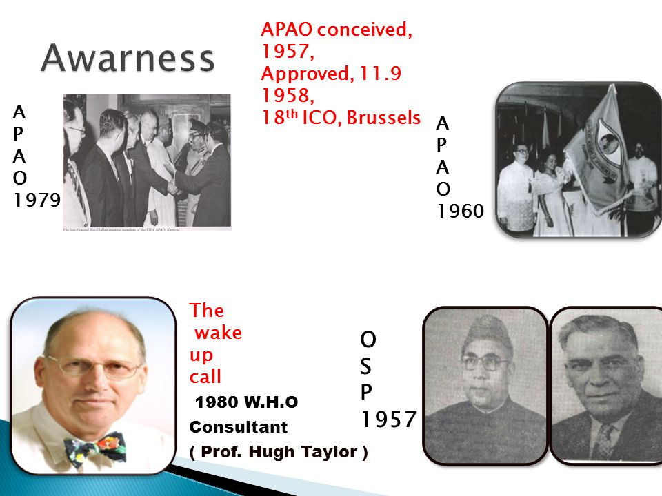 O S P 1957 A P A O 1979 1980 W.H.O Consultant ( Prof. Hugh Taylor ) The wake up call A P A O 1960 APAO conceived, 1957, Approved, 11.9 1958, 18 th ICO