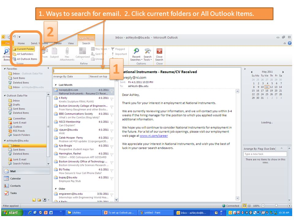 1. Ways to search for email. 2. Click current folders or All Outlook Items. 1 1 2 2