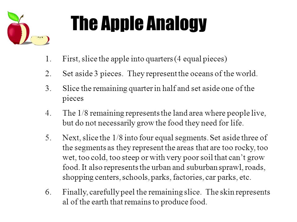 1.First, slice the apple into quarters (4 equal pieces) 2.Set aside 3 pieces.