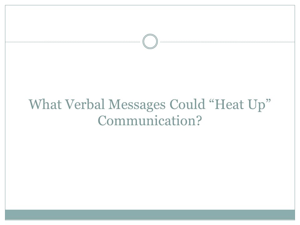 "What Verbal Messages Could ""Heat Up"" Communication?"