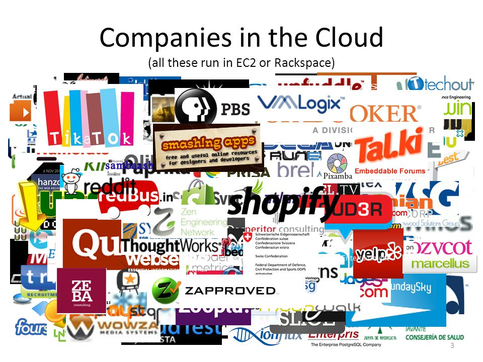Companies in the Cloud (all these run in EC2 or Rackspace) 3