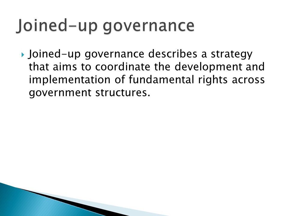  Joined-up governance describes a strategy that aims to coordinate the development and implementation of fundamental rights across government structures.