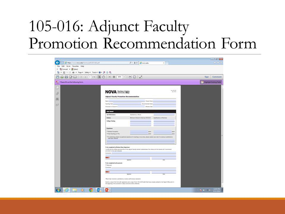105-016: Adjunct Faculty Promotion Recommendation Form