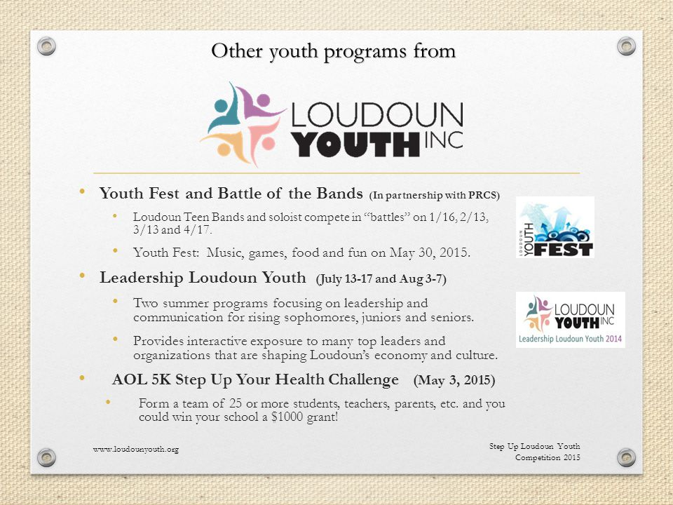 Youth Fest and Battle of the Bands (In partnership with PRCS) Loudoun Teen Bands and soloist compete in battles on 1/16, 2/13, 3/13 and 4/17.